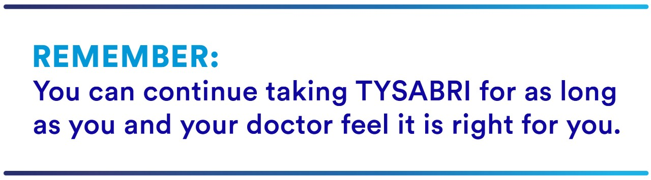 You can continue taking TYSABRI for as long as you and your doctor feel it is right for you.